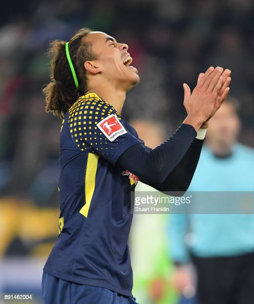 Yussuf Poulsen of Leipzig reacts during the Bundesliga match between VfL Wolfsburg and RB Leipzig at Volkswagen Arena on December 12 2017 in...