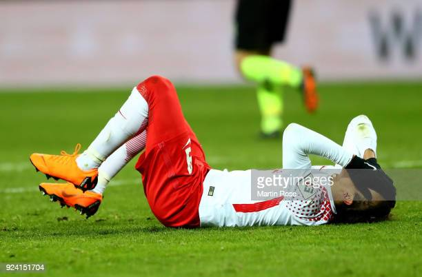 Yussuf Poulsen of Leipzig reacts during the Bundesliga match between RB Leipzig and 1 FC Koeln at Red Bull Arena on February 25 2018 in Leipzig...