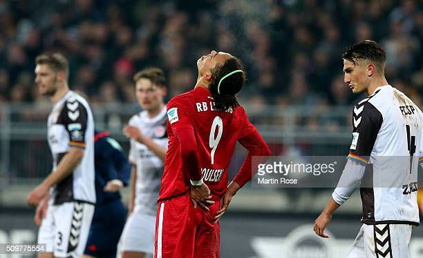 Yussuf Poulsen of Leipzig reacts during the second Bundesliga match between FC St Pauli and RB Leipzig at Millerntor Stadium on February 12 2016 in...