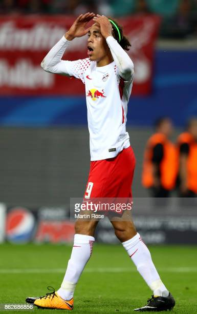 Yussuf Poulsen of Leipzig reacts during the UEFA Champions League group G match between RB Leipzig and FC Porto at Red Bull Arena on October 17 2017...