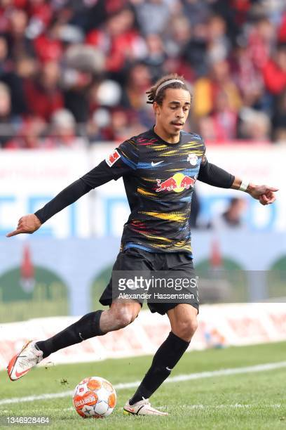 Yussuf Poulsen of Leipzig runs with the ball during the Bundesliga match between Sport-Club Freiburg and RB Leipzig at Europa Park Stadion on October...