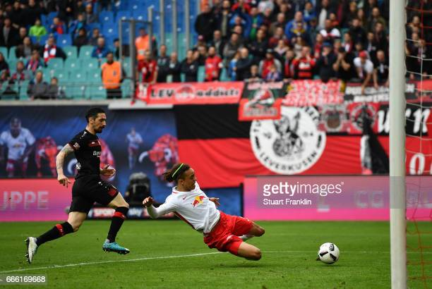 Yussuf Poulsen of Leipzig scores the goal during the Bundesliga match between RB Leipzig and Bayer 04 Leverkusen at Red Bull Arena on April 8 2017 in...