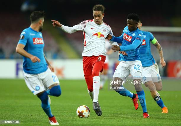 Yussuf Poulsen of RB Leipzig and Amadou Diawara of Napoli during UEFA Europa League Round of 32 match between Napoli and RB Leipzig at the Stadio San...