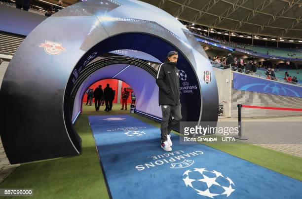 Yussuf Poulsen of RB Leipzig arrives at the stadium prior to the UEFA Champions League group G match between RB Leipzig and Besiktas at Red Bull...