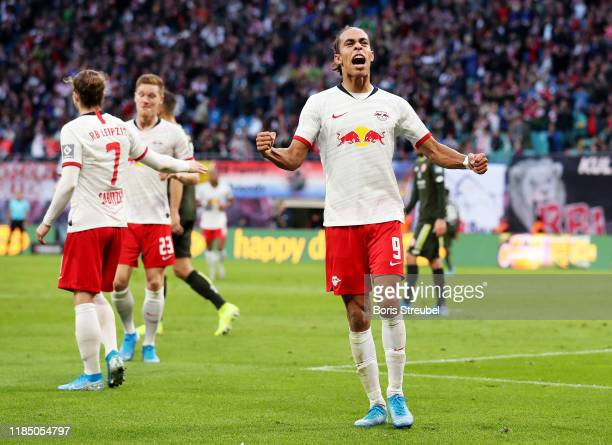 Yussuf Poulsen of RB Leipzig celebrates after scoring his team's fifth goal during the Bundesliga match between RB Leipzig and 1. FSV Mainz 05 at Red...