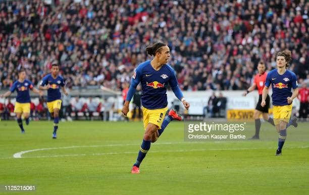 Yussuf Poulsen of RB Leipzig celebrates after scoring his team's first goal during the Bundesliga match between VfB Stuttgart and RB Leipzig at...