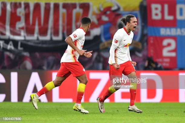 Yussuf Poulsen of RB Leipzig celebrates after scoring his team's second goal during the Bundesliga match between RB Leipzig and Borussia...