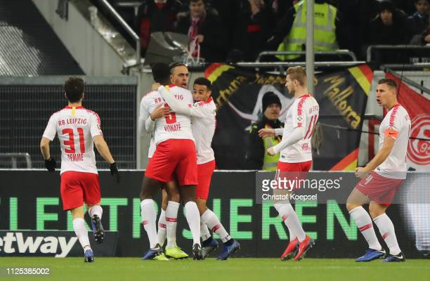 Yussuf Poulsen of RB Leipzig celebrates as he scores his team's first goal during the Bundesliga match between Fortuna Duesseldorf and RB Leipzig at...
