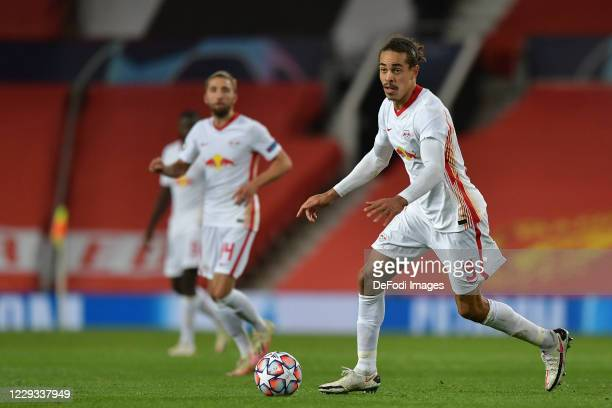 Yussuf Poulsen of RB Leipzig controls the ball during the UEFA Champions League Group H stage match between Manchester United and RB Leipzig at Old...