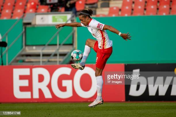 Yussuf Poulsen of RB Leipzig during the DFB Cup first round match between 1 FC Nuernberg and RB Leipzig at MaxMorlockStadion on September 12 2020 in...