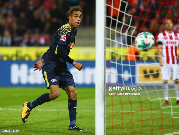 Yussuf Poulsen of RB Leipzig heads and scores his teams second goal of the game during the Bundesliga match between 1 FC Koeln and RB Leipzig at...