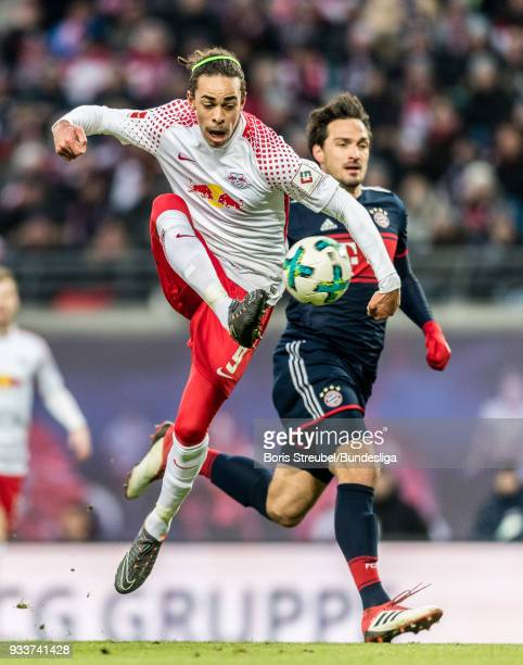 Yussuf Poulsen of RB Leipzig in action during the Bundesliga match between RB Leipzig and FC Bayern Muenchen at Red Bull Arena on March 18 2018 in...