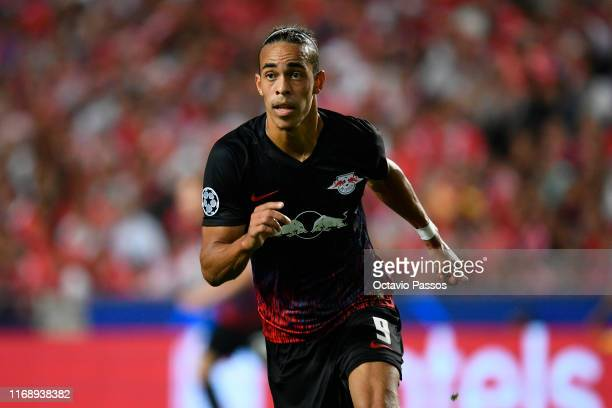 Yussuf Poulsen of RB Leipzig in action during the UEFA Champions League group G match between SL Benfica and RB Leipzig at Estadio da Luz on...