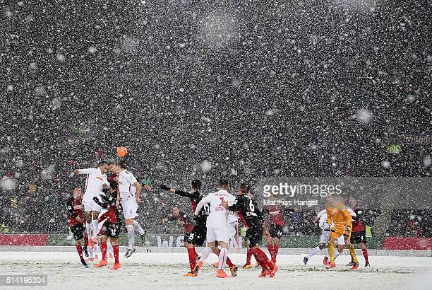 Yussuf Poulsen of RB Leipzig jumps for a header during the Second Bundesliga match between SC Freiburg and RB Leipzig at SchwarzwaldStadion on March...