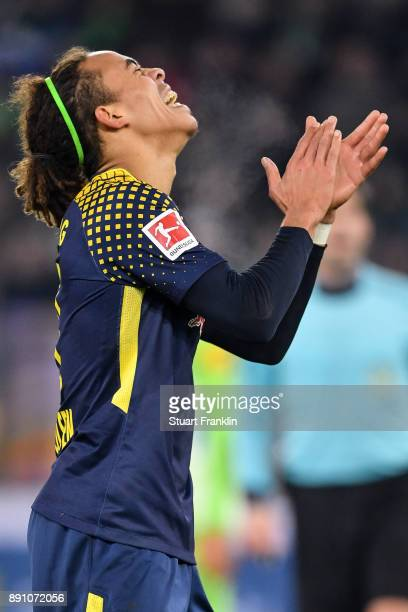 Yussuf Poulsen of RB Leipzig reacts during the Bundesliga match between VfL Wolfsburg and RB Leipzig at Volkswagen Arena on December 12 2017 in...
