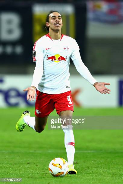 Yussuf Poulsen of RB Leipzig reacts during the UEFA Europa League Group B match between RB Leipzig and Rosenborg at Red Bull Arena on December 13...