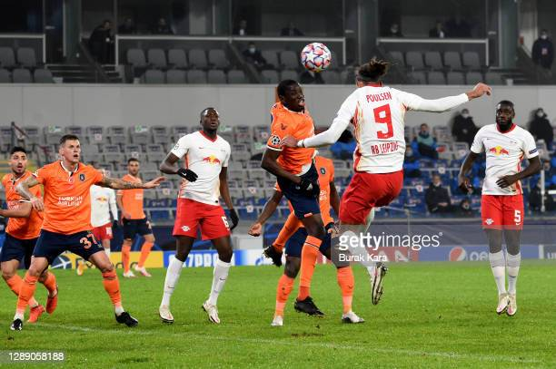 Yussuf Poulsen of RB Leipzig scores their sides first goal during the UEFA Champions League Group H stage match between Istanbul Basaksehir and RB...