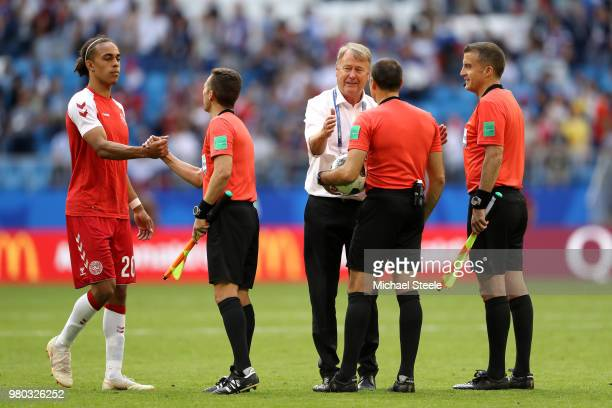 Yussuf Yurary Poulsen and Age Hareide Manager of Denmark cheers eferee Antonio Mateu Lahoz and linesmen Roberto Diaz Perez Del Palomar and Pau...