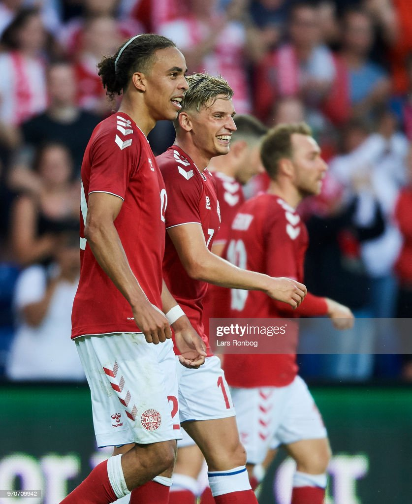 Yussuf Yurary Poulsen and Jens Stryger Larsen of Denmark celebrate after scoring their first goal during the international friendly match between Denmark and Mexico at Brondby Stadion on June 9, 2018 in Brondby, Denmark.