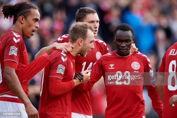 Yussuf Yurary Poulsen, Christian Eriksen, Henrik Dalsgaard and Pione Sisto of Denmark celebrates after scoring their first goal during the UEFA...