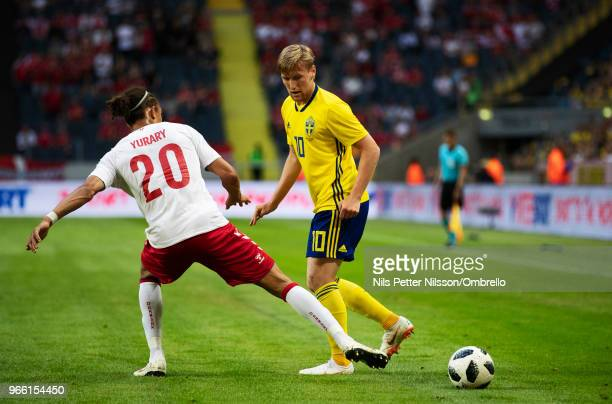 Yussuf Yurary Poulsen of Denmark and Emil Forsberg of Sweden during the International Friendly match between Sweden and Denmark at Friends Arena on...