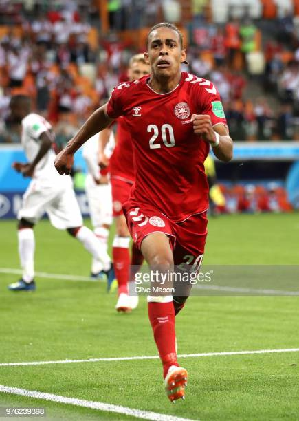 Yussuf Yurary Poulsen of Denmark celebrates after scoring his team's first goal during the 2018 FIFA World Cup Russia group C match between Peru and...