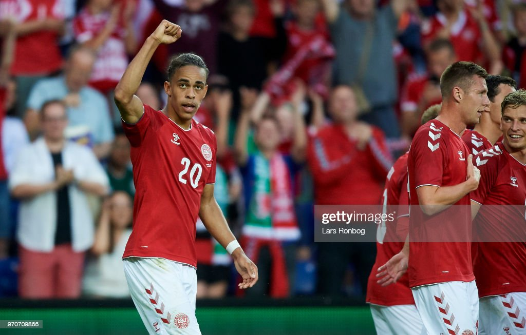 Yussuf Yurary Poulsen of Denmark celebrates after scoring their first goal during the international friendly match between Denmark and Mexico at Brondby Stadion on June 9, 2018 in Brondby, Denmark.