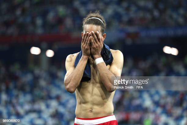 Yussuf Yurary Poulsen of Denmark looks dejected following the 2018 FIFA World Cup Russia Round of 16 match between Croatia and Denmark at Nizhny...