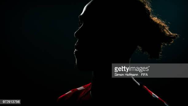 Yussuf Yurary Poulsen of Denmark poses during the official FIFA World Cup 2018 portrait session on June 12, 2018 in Anapa, Russia.
