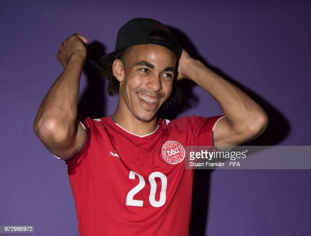 Yussuf Yurary Poulsen of Denmark poses for a picture during the official FIFA World Cup 2018 portrait session at on June 12 2018 in Anapa Russia