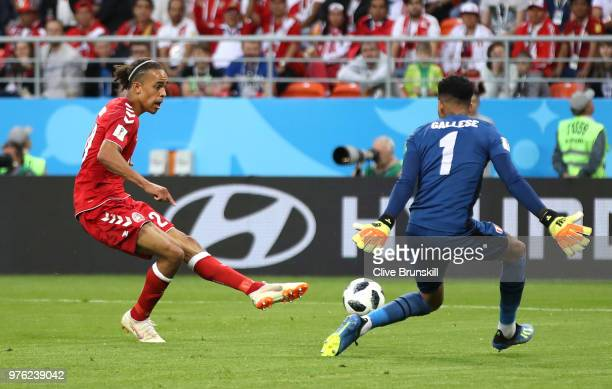 Yussuf Yurary Poulsen of Denmark scores the opening goal during the 2018 FIFA World Cup Russia group C match between Peru and Denmark at Mordovia...