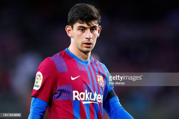 Yusuf Demir of FC Barcelona looks on during the La Liga Santander match between FC Barcelona and Granada CF at Camp Nou on September 20, 2021 in...