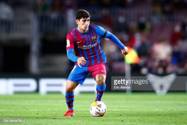 Yusuf Demir of FC Barcelona runs with the ball during the La Liga Santander match between FC Barcelona and Granada CF at Camp Nou on September 20,...