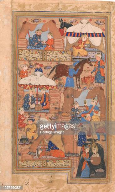Yusuf is Drawn Up from the Well, Folio from a Yusuf and Zulaikha of Jami, second half 16th century. Artist Unknown.