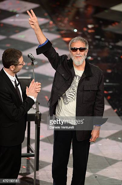Yusuf Islam aka Cat Stevens and Fabio Fazio attend the opening night of the 64th Festival di Sanremo 2014 at Teatro Ariston on February 18, 2014 in...