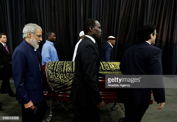 Yusuf Islam and Hamza Yusuf attend the Islamic prayer service for Muhammad Ali at the Kentucky Exposition Center on June 9 2016 in Louisville...