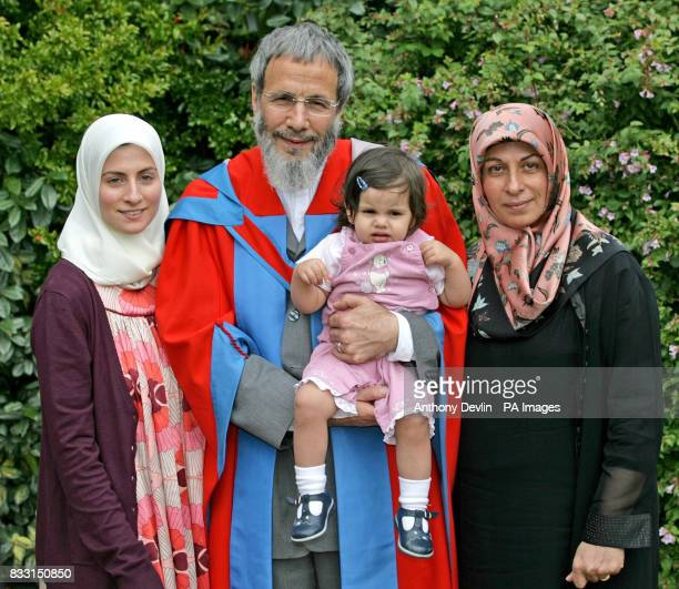 Yusuf Islam formerly known as Cat Stevens holds his grand daughter with his wife Fauzia Islam and daughter Asmaa Islam as he receives an honorary...