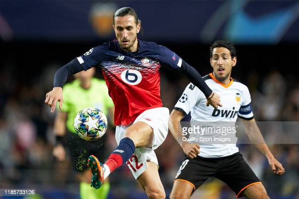 Yusuf Yazici of Lille OSC in action during the UEFA Champions League group H match between Valencia CF and Lille OSC at Estadio Mestalla on November...