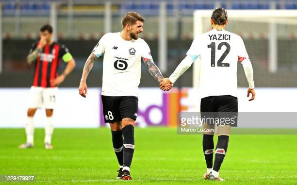 Yusuf Yazici of LOSC Lille celebrates with his team-mate Xeka after scoring the opening goal during the UEFA Europa League Group H stage match...