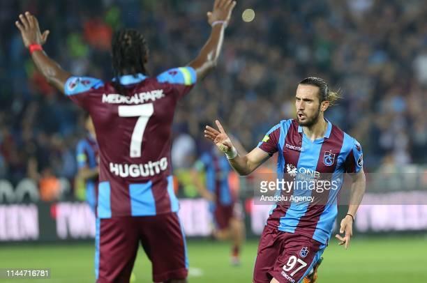 Yusuf Yazici of Trabzonspor celebrates after scoring a goal during Turkish Super Lig soccer match between Trabzonspor and Besiktas at the Medical...