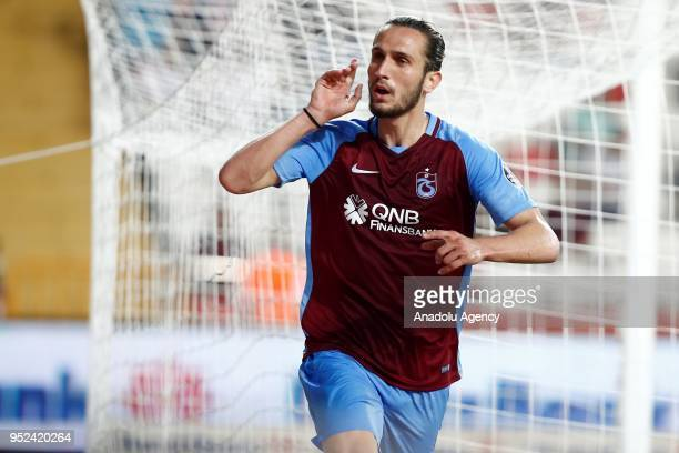 Yusuf Yazici of Trabzonspor celebrates after scoring a goal during the Turkish Super Lig match between Antalyaspor and Trabzonspor at Antalya Stadium...