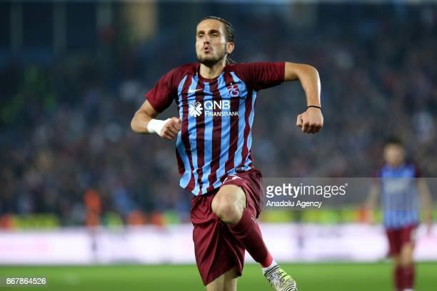 Yusuf Yazici of Trabzonspor celebrates after scoring during a Turkish Super Lig match between Trabzonspor and Galatasaray at Medical Park Stadium in...