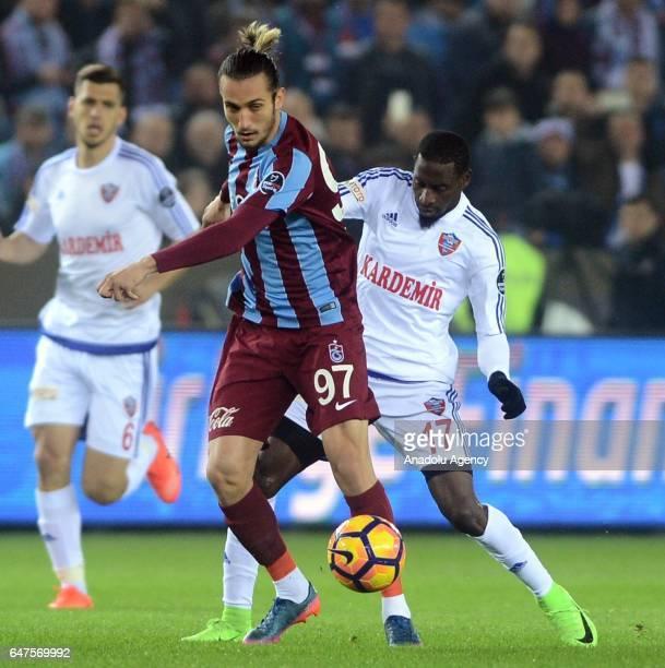 Yusuf Yazici of Trabzonspor in action during the Turkish Spor Toto Super Lig football match between Trabzonspor and Kardemir Karabukspor at the...
