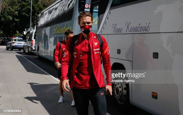 Yusuf Yazici of Turkey is seen as Turkey National Football Team arrives in Belgrade ahead of UEFA Nations League B Group 3, second match against...
