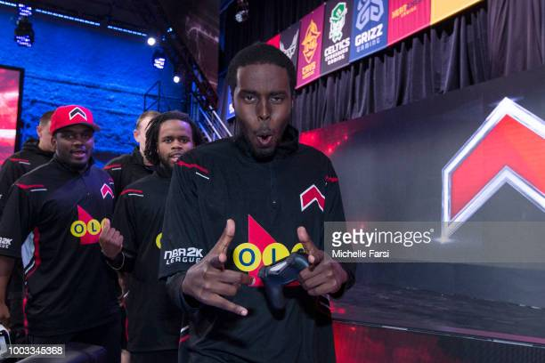 Yusuf_Scarbz of Raptors Uprising Gaming reacts against Bucks Gaming on July 21 2018 at the NBA 2K Studio in Long Island City New York NOTE TO USER...