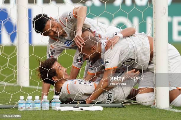 Yusuke Goto of Shimizu S-Pulse celebrates scoring his side's second goal during the J.League Meiji Yasuda J1 match between Kashima Antlers and...