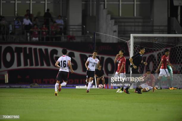 Yusuke Hayashi of Gurlla Morioka celebrates the first goal during the 97th Emperor's Cup second round match between Urawa Red Diamonds and Gurlla...