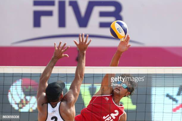 Yusuke Ishijima of Japan in action with Kensuke Shoji of Japan during the match against Juan Virgen and Lombardo Ontiveros of Mexico on Day 2 of 2017...