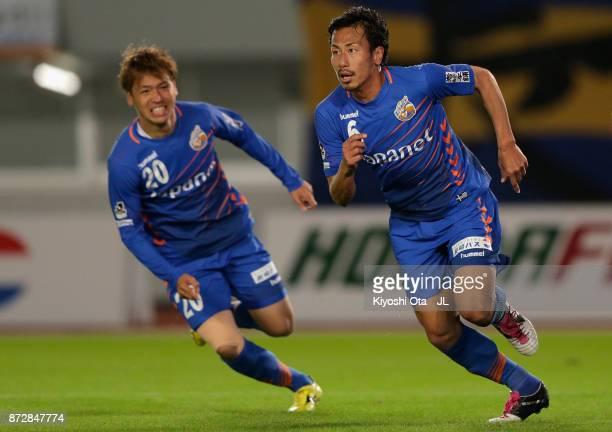 Yusuke Maeda of VVaren Nagasaki celebrates scoring his side's second goal during the JLeague J2 match between VVaren Nagasaki and Kamatamare Sanuki...