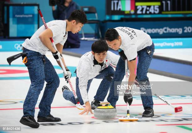 Yusuke Morozumi of Japan delivers the stone in the third end in the Curling Men's Round Robin Session 1 against Norway on day five of the PyeongChang...